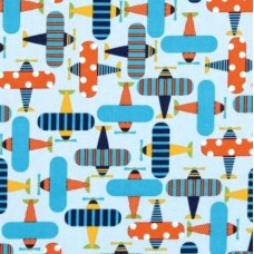 Airplanes Organic Cotton Fabric in Sky Blue