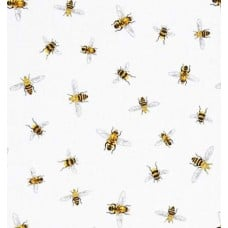 Scattered Bees Cotton Fabric in White Fabric Traders