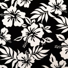 Tropical Flowers in Black and White Cotton Fabric by Robert Kaufman
