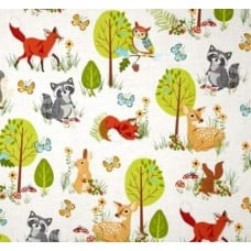 Forest Wild Animals Cotton Fabric by Robert Kaufman