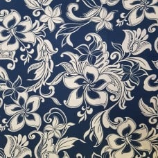 Tropical Bouquet in Navy and Cream Cotton Fabric by Robert Kaufman