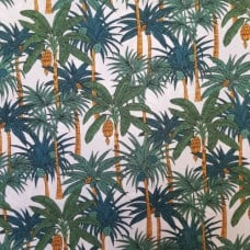 Palm Trees Cotton Fabric by Robert Kaufman in White Fabric Traders