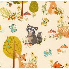 Forest Wild Animals Cotton Fabric by Robert Kaufman in Nature