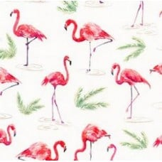 Flamingo Paradise Cotton Fabric in Ivory