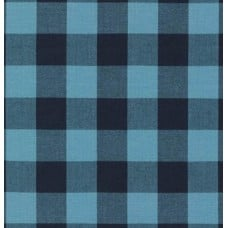 Gingham 25mm Check Cotton Fabric in Indigo and Black