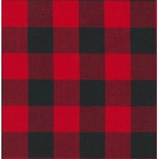 Gingham Black and Red in 25mm Check Cotton Fabric