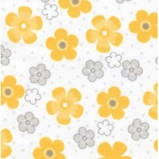 Flannel Daisy Cotton Fabric in Yellow on White