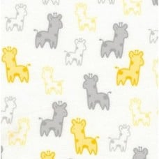 Flannel Cotton Fabric Giraffes in Yellow and Grey Fabric Traders