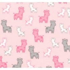 Flannel Cotton Fabric Giraffes in Pink and Grey
