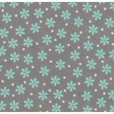 Flannel Daisy Shadow Cotton Fabric in Aqua and Grey