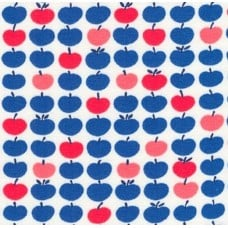 Jersey Knit Stretch Fabric in Apples Blues and Red