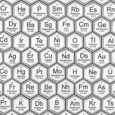 Science Fair White Periodic Table Cotton Fabric by Robert Kaufman