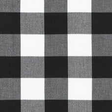Gingham Black in 50mm Check Cotton Fabric