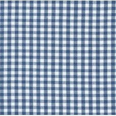 Gingham Cotton Fabric in Denim Blue