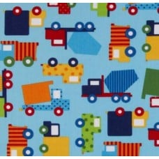 REMNANT - Work Trucks Cotton Fabric on Blue