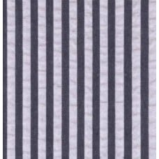 Seersucker Stripe Cotton Fabric in Navy Blue and White