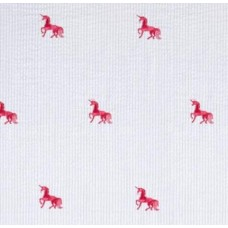 Seersucker Classic Embroidered Cotton Fabric Unicorns in Pink