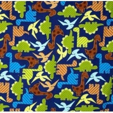 Dinosaurs Urban Zoologie Cotton Fabric in Navy
