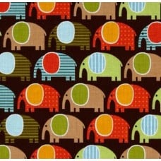 Elephants Urban Zoologie Cotton Fabric in Brown