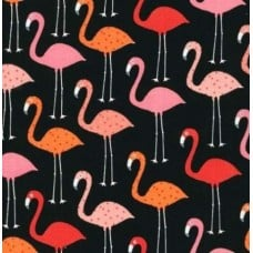 Flamingo Urban Zoologie Cotton Fabric in Black