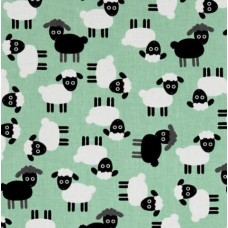Urban Zoologie Sheep Cotton Fabric in Mint