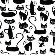 Cats Whiskers And Tails in White Cotton Fabric