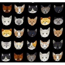 Cats In a Row Cotton Fabric in Black Fabric Traders