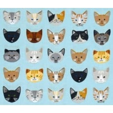 Cats In a Row Cotton Fabric in Blue