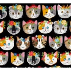 Cats Heads Cotton Fabric in Black