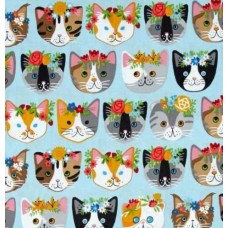 Cats Heads Cotton Fabric in Pale Blue
