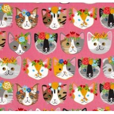 REMNANT - Cats Heads Cotton Fabric in Pink