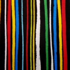 Stripes on Black Clothing, Craft and Apparel Cotton Fabric
