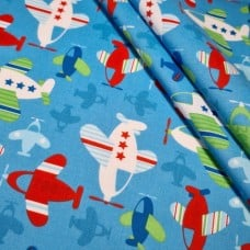 Airoplanes Zoom in Blue Cotton Fabric
