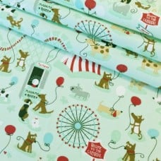 Dog Playtime in Mint Cotton Fabric Fabric Traders