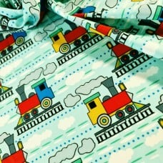 Trains Allover in Blue Cotton Fabric Fabric Traders