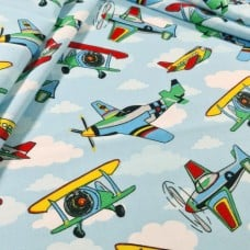 Airoplanes in Blue Cotton Fabric