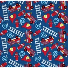 Fire Engines in Royal Blue Cotton Fabric