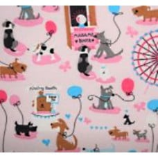 Dog Playtime in Pink Cotton Fabric