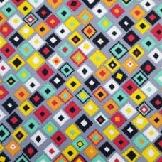 Designer Bright Grey Tribal Cotton Fabric by Santee Print Works