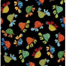 Turtles on Black Clothing, Craft and Apparel Cotton Fabric