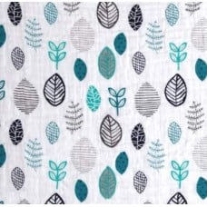 Lightweight Cotton Gauze Muslin Fabric Forest Leaves in Teal