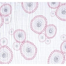 Lightweight Cotton Gauze Muslin Fabric in Circles Pink