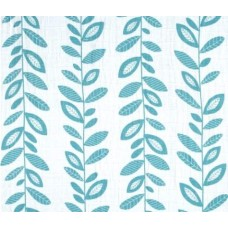 Lightweight Cotton Gauze Muslin Fabric Vines in Teal