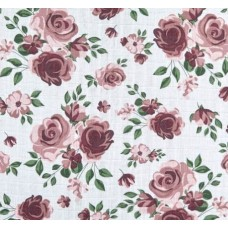 Double Gauze  Muslin Roses Embrace Fabric in Rosewater
