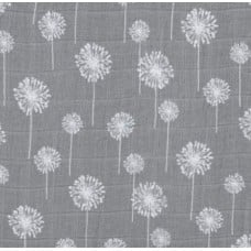 Lightweight Cotton Gauze Muslin Fabric Dandelions in Grey