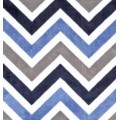 Minky Chevron Fabric in Multi Blue and Charcoal
