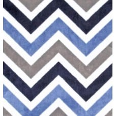 Minky Chevron Fabric in Multi Blue and Charcoal Fabric Traders