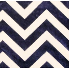 Minky Chevron Fabric in Blue and Ivory