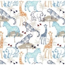 Double Gauze Jungle Cruise Embrace in Cobalt Fabric Traders