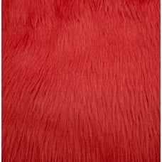 Faux Fur Luxury Shag Fabric in Fire Red